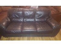 Dark Brown Leather Sofas, 3 + 4 seater corner Sofa