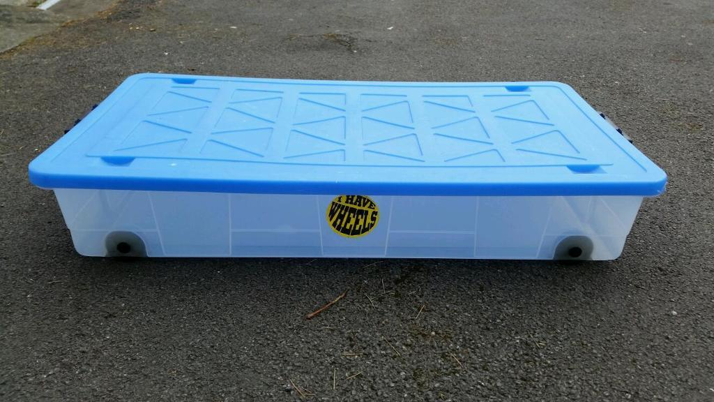 2 X Flat Long Underbed Plastic Storage Bo On Wheels With Lids