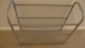 STURDY GREY METAL 3 SHELF SHOE RACK