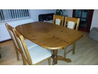 Solid Real Oak Extending Dining Table + 6 Upholstered Chairs