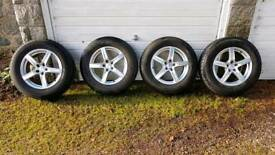Snow tyres on alloy wheels