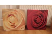 Pair of Matching Rose Flower Pictures