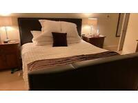 Superking TV bed in dark brown leather