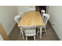 5ft Shabby Chic Table and six Spindleback Chairs-Bespoke-Grey-Cream-White