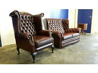 CHESTERFIELD LEATHER SET 2 SEATER SOFA / SUITE / SETTEE & HIGHBACK WINGBACK CHAIR/ ARMCHAIR ANTIQUE