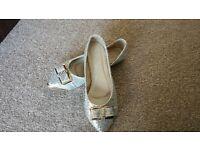 Women Diamante Wedding Party Flat Shoes Size 7