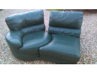 GREEN LEATHER 2 SEATER SOFA. COMFORTABLE, PRACTICAL, GOOD USED CONDITION