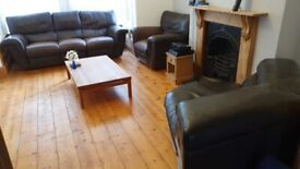 Leather recliner sofa - 3 recliner seater, recliner armchair and a corner unit