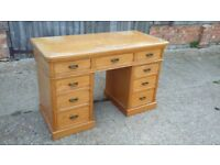 Vintage Ash Knee Hole Pedestal Desk Splits