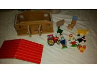 Wooden farm house & people toy game