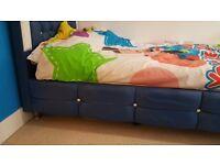 Blue Diamonte Single Bed Frame
