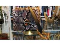 Leather purse, python prints, gold and leather carry strap