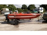 14ft Speed ski boat. Fletcher GTO with 60hp Yamaha outboard and trailer. Original sun lounge seats.
