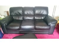 3 Piece Leather Sofa. 3 Seater, 2 Seater, Chair & Storage Ottoman. Dark Blue, excellent condition.