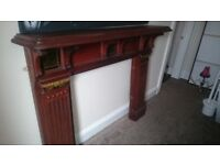 Edwardian Wood with tiled inserts Fire Surround.