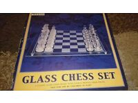 Chess Glass Set Vintage set UK seller Clear and Frosted pieces & board 40x40cm