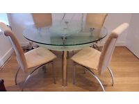 2-Tier Glass Dining Table with Lazy Susan & 4 Chairs