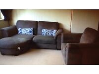 Excellent condition fabric 3 seater from IKEA and armchair with footstall.