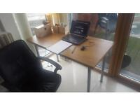 Home office desk + leather chaor
