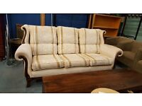 Vintage style cream striped 3 seater high backed sofa