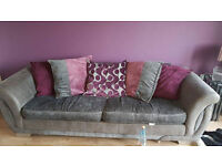 DFS 'Shannon' 3 Seater Pillowback Grey and Purple Sofa with Chrome feet.