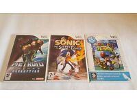 3 NINTENDO WII GAMES. METROID PRIMES CORRUPTION, SONIC & THE SECRET RINGS & MARIO POWER TENNIS