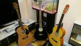 Set of Guitars + Gift Stand - 2 Acoustics 1 Classic