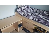 Tesco Fresno II Midsleeper bed with pull-out desk - Good condition - Was £315 new