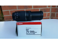 Canon EF 75-300mm f/4-5.6 III USM EOS Mount 35mm SLR Zoom Lens - Excellent Condition