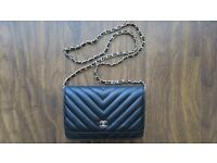 New CHANEL Black Chevron Lambskin Leather WOC Wallet On Chain Bag With Gold Hardware £160