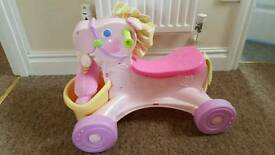 Fisher Price Push Along Horse & Doll