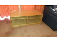 Light Wood TV Stand/Cabinet with Shelves and Glass Doors