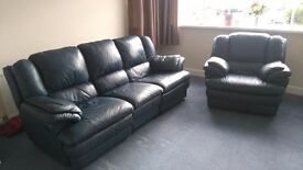 Leather 3 seater sofa and chair. All reclining.
