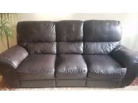 *** Three seat sofa, two seat sofa and arm chair - leather + reclining !***