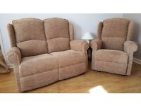 Suite - Two Pieces - 2 Seater Sofa (Settee) and Armchair - Beige Fabric - Price Reduced