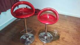 Pair of Red Swivel Gas Lift barstools