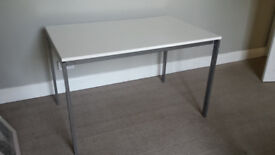 white and silver table desk, 75 x 118 cm