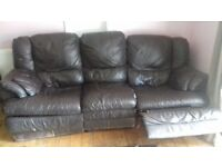 2 x 3 seater leather recliners