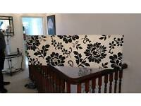 Large Canvas in Cream with Black pattern