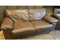 Brown leather sofa and recliner chair. Delivery available