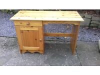 Pine Desk With Cupboard Shelf and Single Drawer All Wood and In Very Good Condition