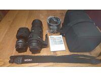Sigma 150-500mm Nikon mount telephoto lens inc 2x converter