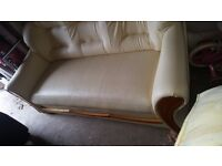 Leather cream 3 seater sofa
