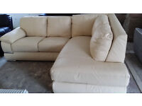 NEW Graded Grand Cream Leather Corner Sofa Suite Large Big Free Local Delivery