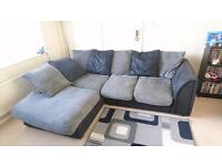 Black and grey corner sofa very good condition comes with all cushions. £150.