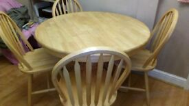 PINE TABLE AND 4 CHAIRS DINING/KITCHEN