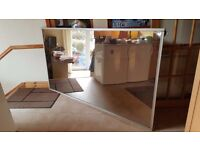 3 Smoked glass mirror sliding doors for wardrobe/storage gold coloured frames collection