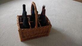 Wicker bottle picnic carry basket