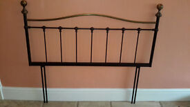 """Black and Brass Metal Bedhead for 4'6"""" (Double) Divan – Excellent Condition"""
