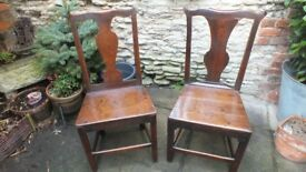 2 Wonderful Fruitwood 18th century country side chairs